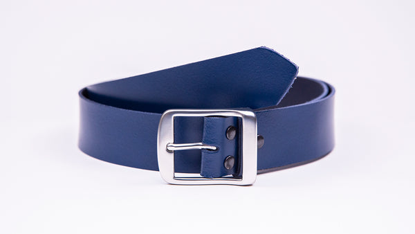 Genuine Blue Leather Jeans Belt - Full Satin Silver Buckle - Worldbelts Ltd
