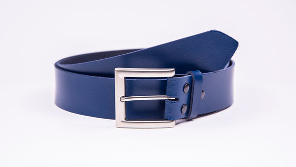 Genuine Blue Leather Jeans Belt - Square Satin Silver Buckle - Worldbelts Ltd