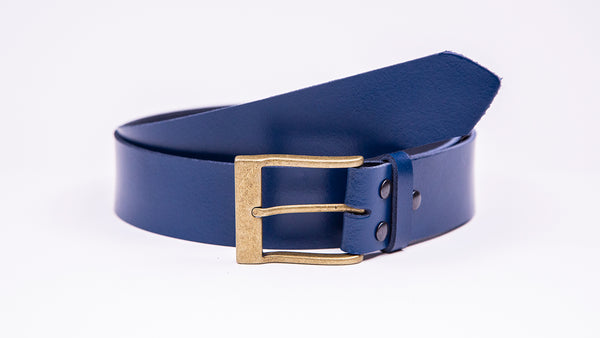 Genuine Blue Leather Jeans Belt - Rectangular Gold Buckle - Worldbelts Ltd