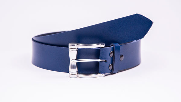 Genuine Blue Leather Jeans Belt - Chunky Satin Silver Buckle - Worldbelts Ltd