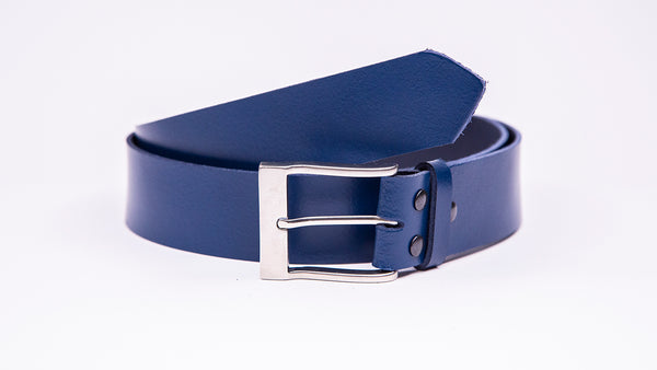 Genuine Blue Leather Jeans Belt - Rectangular Satin Silver Buckle - Worldbelts Ltd