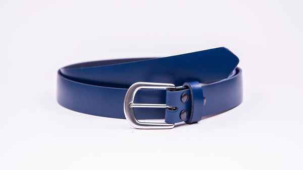 Blue Leather Suit Belt - Round Satin Buckle - Worldbelts Ltd