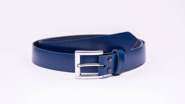 Blue Leather Suit Belt - Square Satin Buckle - Worldbelts Ltd