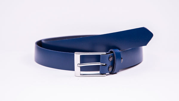 Blue Leather Suit Belt - Rectangular Satin Buckle