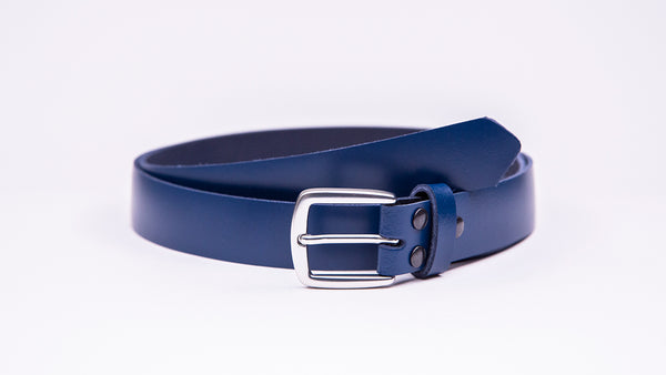 Blue Leather Suit Belt - Round/Square Satin Buckle - Worldbelts Ltd