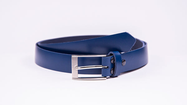 Blue Leather Suit Belt - Rectangular Chrome Buckle - Worldbelts Ltd