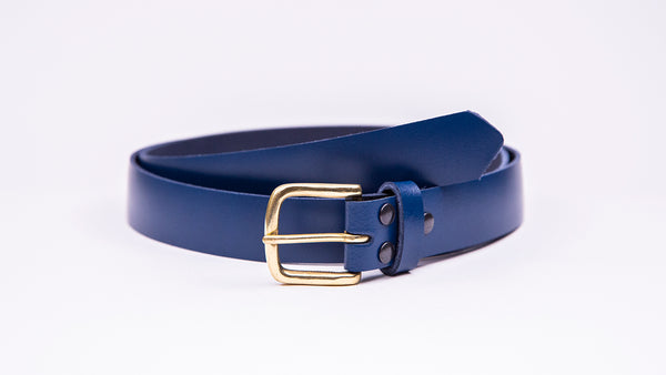 Blue Leather Suit Belt - Square Brass Buckle - Worldbelts Ltd