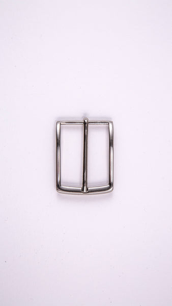 "Chrome Thin Rectangular 1.3"" Buckle - Worldbelts Ltd"