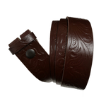 Medium Brown Western Pattern Leather Press Stud Strap - Worldbelts Ltd