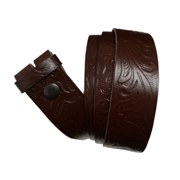 Medium Brown Celtic Pattern Leather Press Stud Strap - Worldbelts Ltd