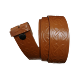 Light Brown Celtic Pattern Leather Press Stud Strap - Worldbelts Ltd
