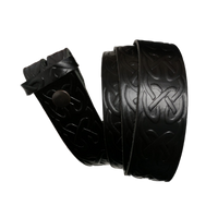 Black Celtic Pattern Leather Press Stud Strap - Worldbelts Ltd