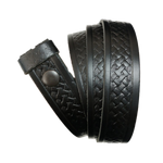Black Basket Weave Pattern Leather Press Stud Strap - Worldbelts Ltd