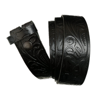 Black Western Pattern Leather Press Stud Strap - Worldbelts Ltd
