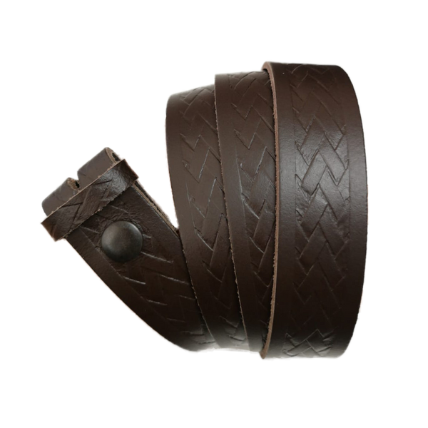Dark Brown Basket Weave Pattern Leather Press Stud Strap - Worldbelts Ltd
