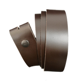 Dark Brown Leather Press Stud Strap - Worldbelts Ltd