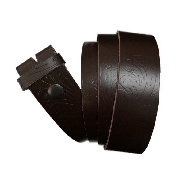 Dark Brown Western Pattern Leather Press Stud Strap - Worldbelts Ltd