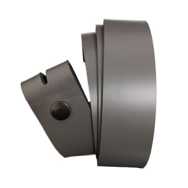 Grey Leather Press Stud Strap - Worldbelts Ltd