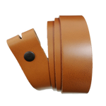 Light Brown Leather Press Stud Strap - Worldbelts Ltd