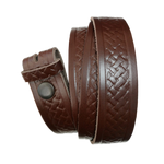 Medium Brown Basket Weave Pattern Leather Press Stud Strap - Worldbelts Ltd