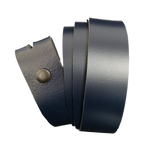Navy Blue Leather Press Stud Strap - Worldbelts Ltd