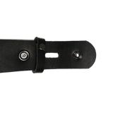 Black Leather Press Stud Strap - Worldbelts Ltd