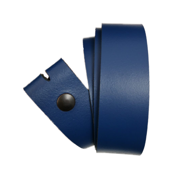 Royal Blue Leather Press Stud Strap - Worldbelts Ltd