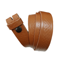 Light Brown Basket Weave Pattern Leather Press Stud Strap - Worldbelts Ltd