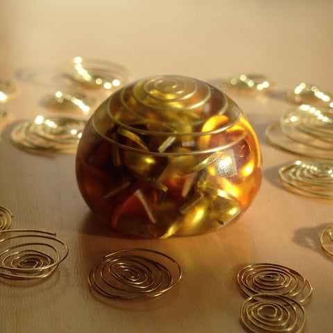 Orgone energy Sphere with Citrine crystals