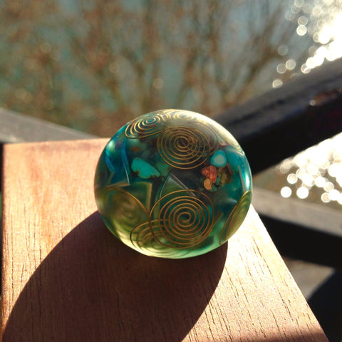 Turquoise Crystal Orgone Energy Sphere