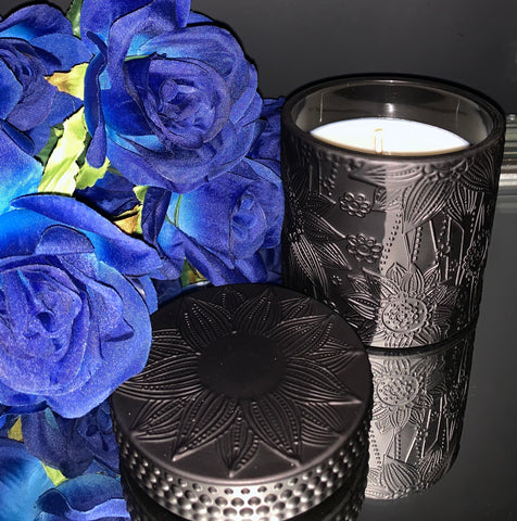Luxury Black Flower Vessel Hand Poured Soy Candles ~ Empower