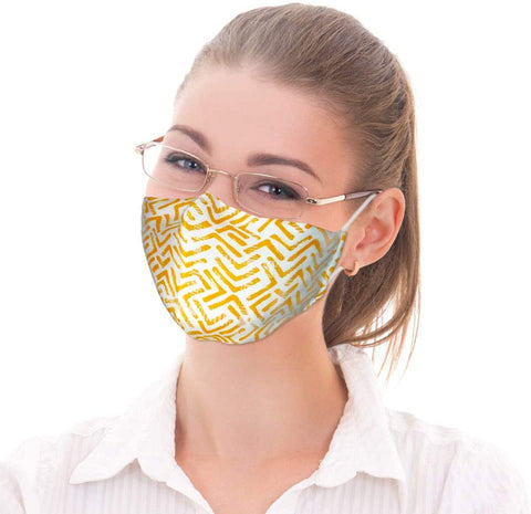Canadian Fashion Face Mask Washable Reusable Adjustable Protective with 2 Filters Size: Adult Medium. Colour: Gold and White Print