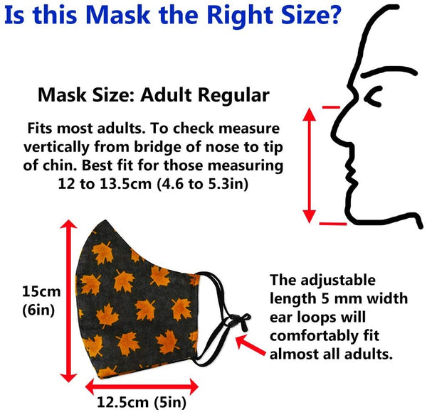 Canadian Designer Face Mask 100% Cotton. Washable Reusable Adjustable. 3D shape. Adult Size - Regular. Pattern: Gold Maple Leaf
