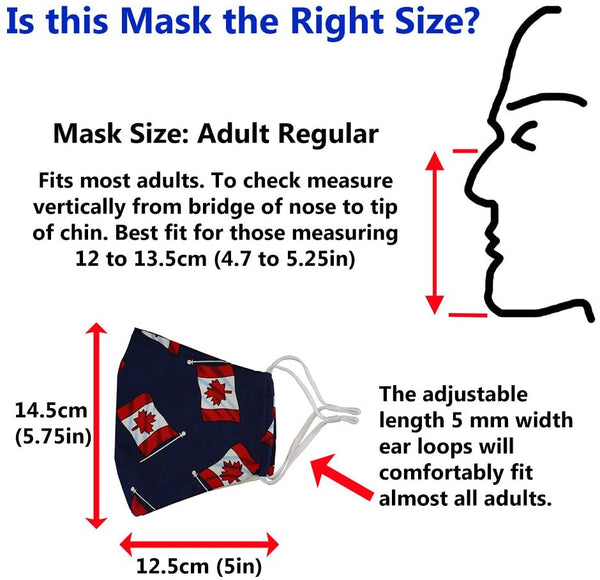 NEW! Canadian Designer Filter Style Face Mask with Nose Clip and two PM 2.5 Filters. Washable Reusable 100% Cotton. Adjustable. . Adult Medium Size. Pattern: Canadian Flags