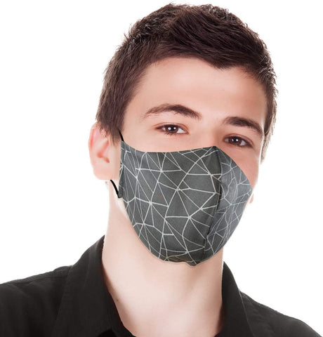 Fashion Designer Cloth Face Mask, Washable, Reusable, Multilayer Cotton 3D Shape Lightweight Fabric Adjustable. Made in Canada. Size: Youth or Small Adult. Colour – Pewter Grey