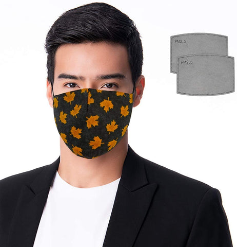 Canadian Designer Filter Style Face Mask Washable Reusable 100% Cotton. Adjustable. w/two PM 2.5 Filters. Adult Size Medium. Colour: Gold Maple Leaf Pattern