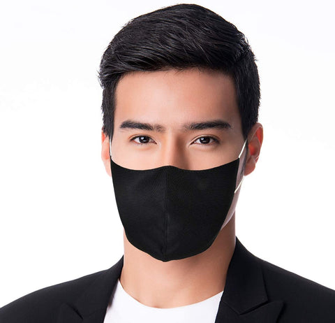 3 Layer Washable Cloth Face Mask Reusable Protective Fabric Face Covering - Colour Black. Size Adult Medium