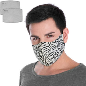 Canadian Designer 100% Cotton Fabric Face Mask by Modamask w/ 2 PM2.5 Filters Washable Reusable Adjustable - Modern Black and White Pattern. Size Adult Large