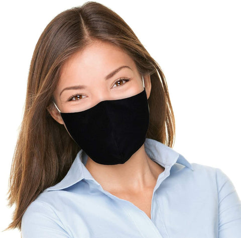 Washable Cloth Mask Reusable 3 Layers, Protective Fabric Face Covering - Colour Black. Size Adult Small