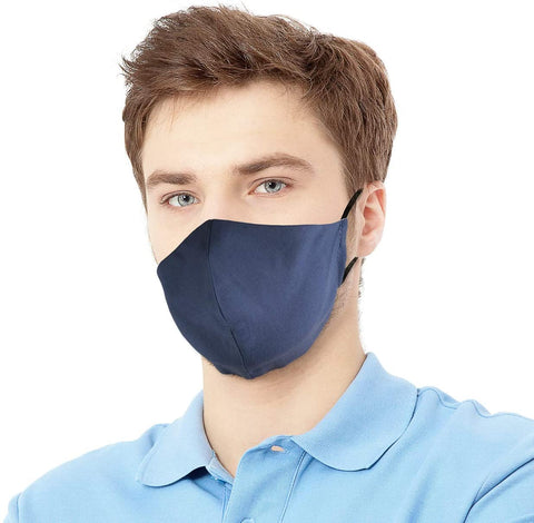 Canadian Designer Cloth Face Mask, Washable, Reusable, Multilayer Cotton 3D Shape Lightweight Fabric Adjustable. Made in Canada. Size: Youth or Small Adult Colour: Denim Blue