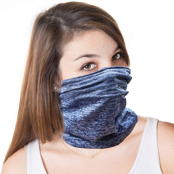 Neck Gaiter Face Mask Cover with SPF Protection  for Commuting, Cycling Hiking Camping Exercise Outdoors with 2 Carbon Filters - Blue