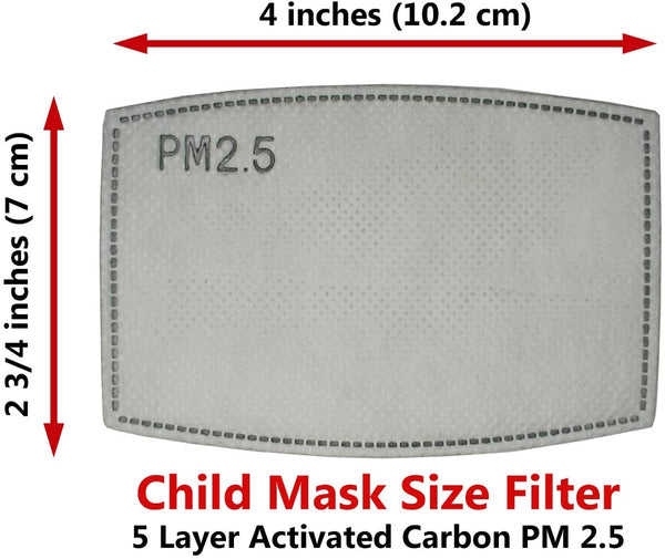 20 pcs Filters for Masks. PM 2.5 Activated Carbon 5 Layer - CHILD SIZE