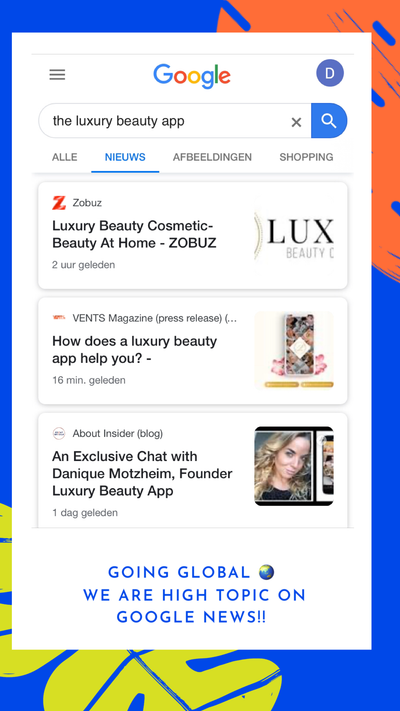 Google news articles about the Luxury Beauty bookings app