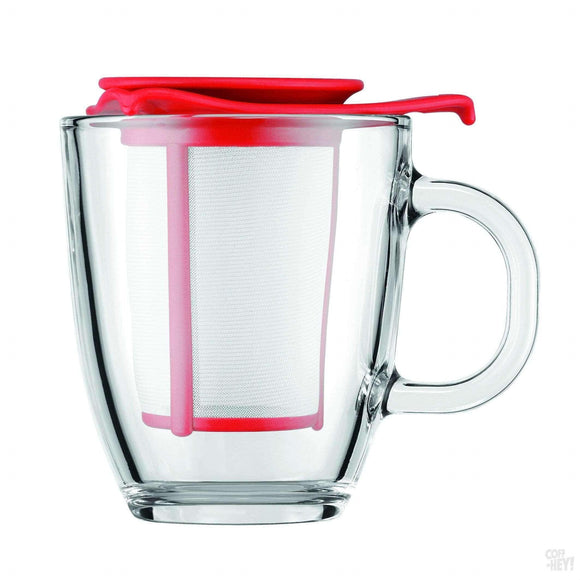 Bodum Yo-Yo Set Mug and Tea Strainer, 0.35 L, 12 oz - Red-Coffee Brewing-Bodum-Coff-Hey!