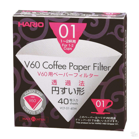Hario V60 Paper Filter 01 Dripper 40 Sheets - Bleached-Coffee Brewing-Hario-Coff-Hey!
