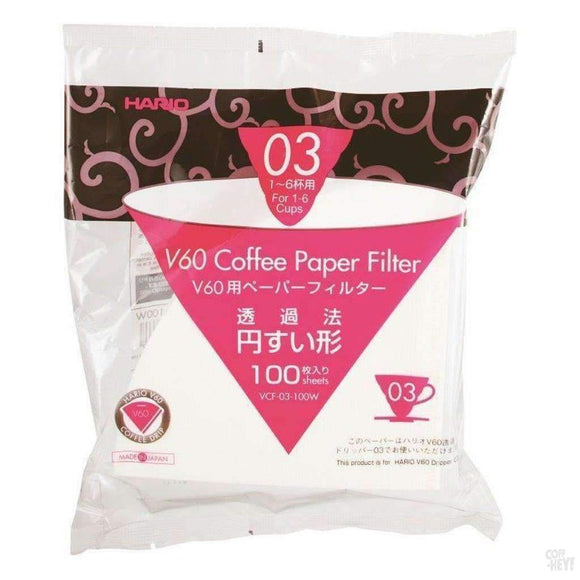 Hario V60 Paper Filter 03 Dripper 100 Sheets - Bleached-Coffee Brewing-Hario-Coff-Hey!