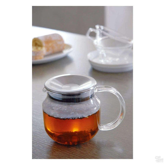 Kinto One Touch Teapot 450ml Stainless Steel Lid-Tea Brewing-Kinto-Coff-Hey!