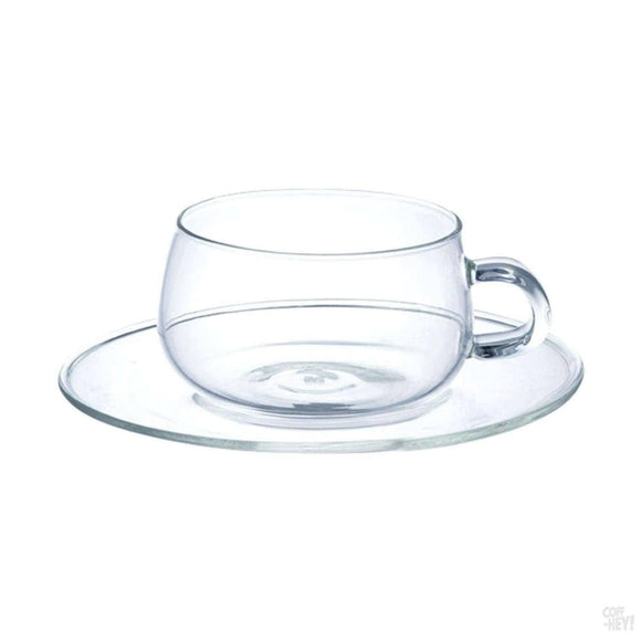 Kinto Unitea Cups & Saucers 8.5oz Glass (2 pcs)-Drinkware-Kinto-Coff-Hey!