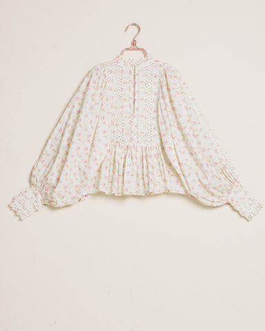 By Timo Cotton Slub Lace Blouse