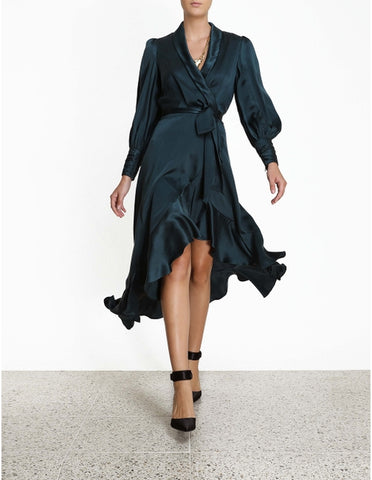 ZIMMERMANN Silk Wrap Midi Dress